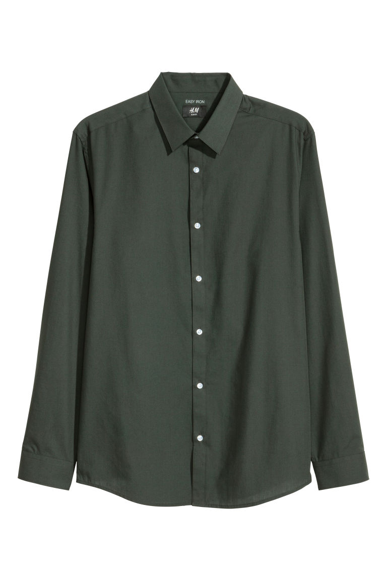 Camicia easy-iron Slim fit - Verde scuro - UOMO | H&M CH
