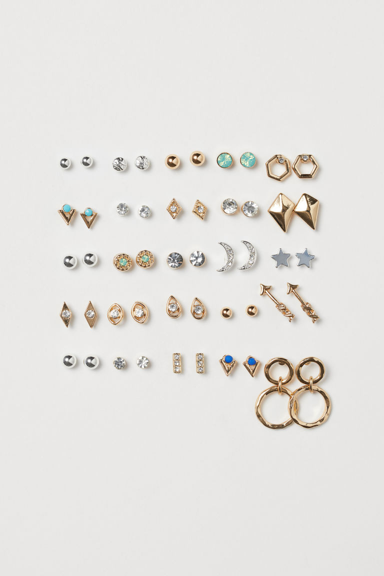 25 pairs stud earrings - Silver-coloured/Gold-coloured - Ladies | H&M GB