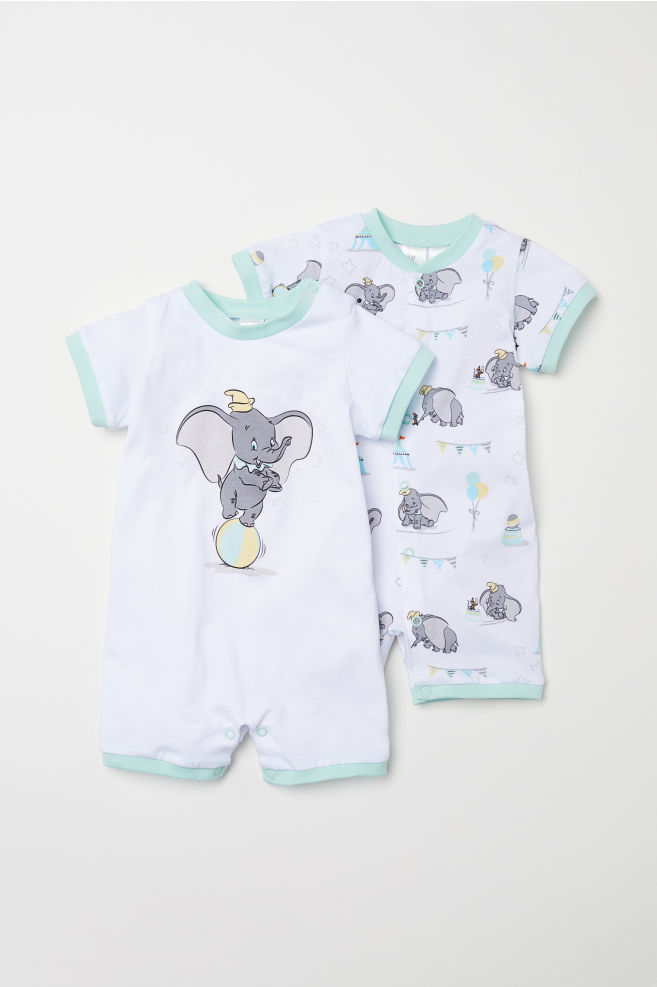 34a9fe131 2-pack all-in-one pyjamas - White/Dumbo - Kids | H&M IN