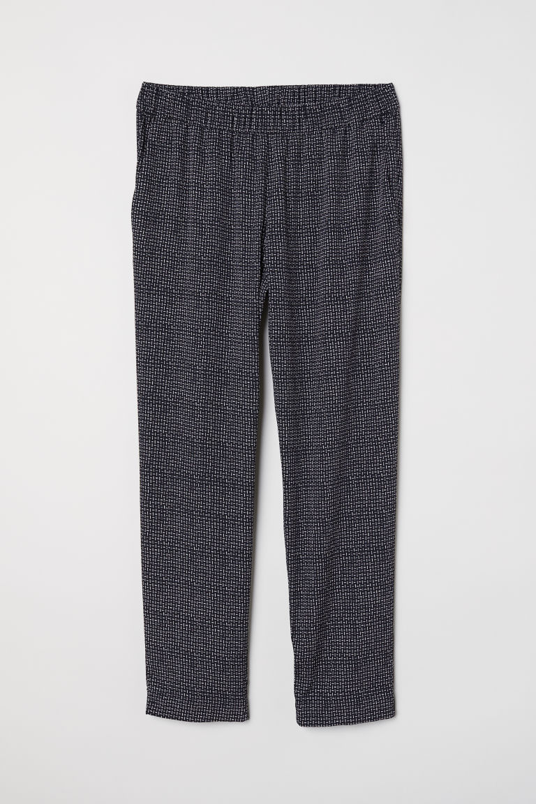 Crêpe trousers - Black/Patterned -  | H&M CN