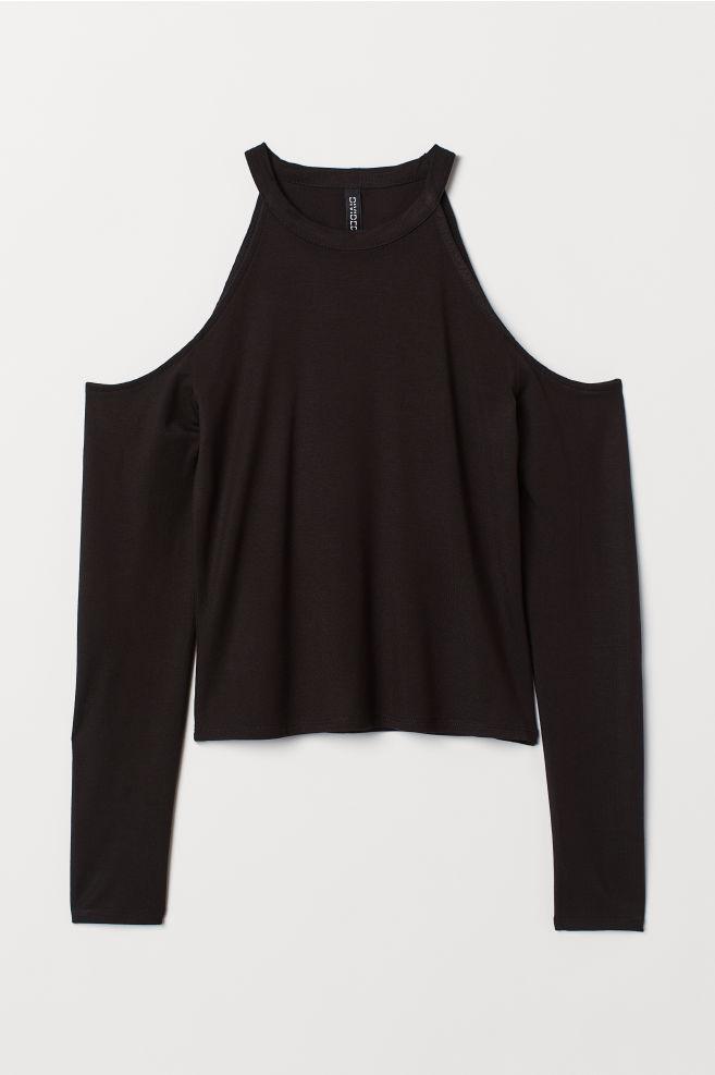 36a72249f18b94 Open-shoulder Top - Black - | H&M ...