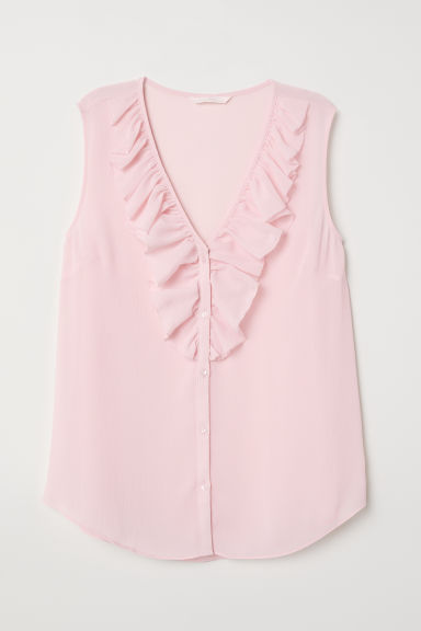V-neck blouse with a flounce - Light pink - Ladies | H&M CN