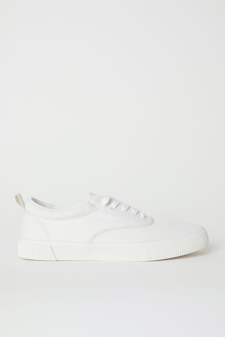 Cotton fabric shoes - Natural white - Men | H&M