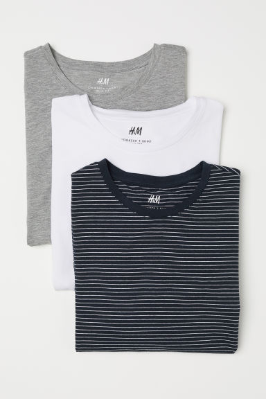 T-shirt Slim fit, 3 pz - Blu scuro/righe - UOMO | H&M IT