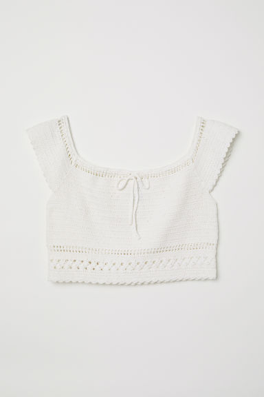 Crocheted off-the-shoulder top - White -  | H&M