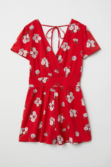 Jersey playsuit - Red/Floral - Ladies | H&M CN