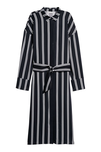 Shirt dress - Dark blue/White striped - Ladies | H&M
