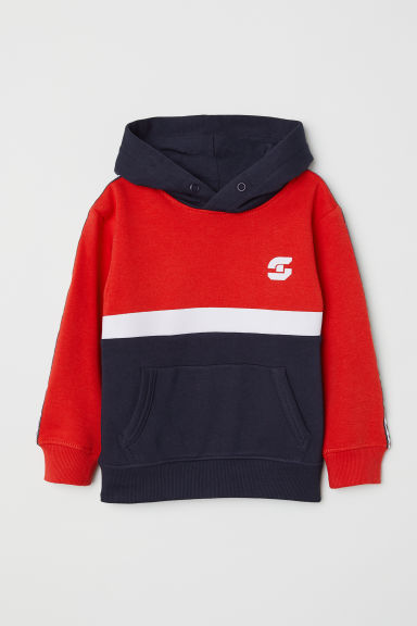 Printed hooded top - Bright red/Explore -  | H&M
