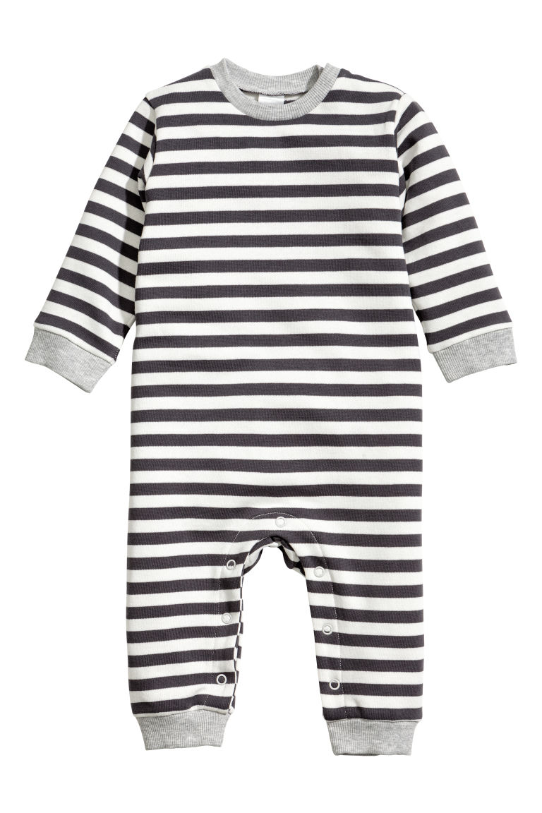 All-in-one suit - Dark grey/White striped - Kids | H&M