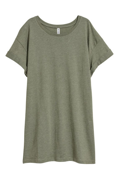 Long T-shirt - Green marl -  | H&M
