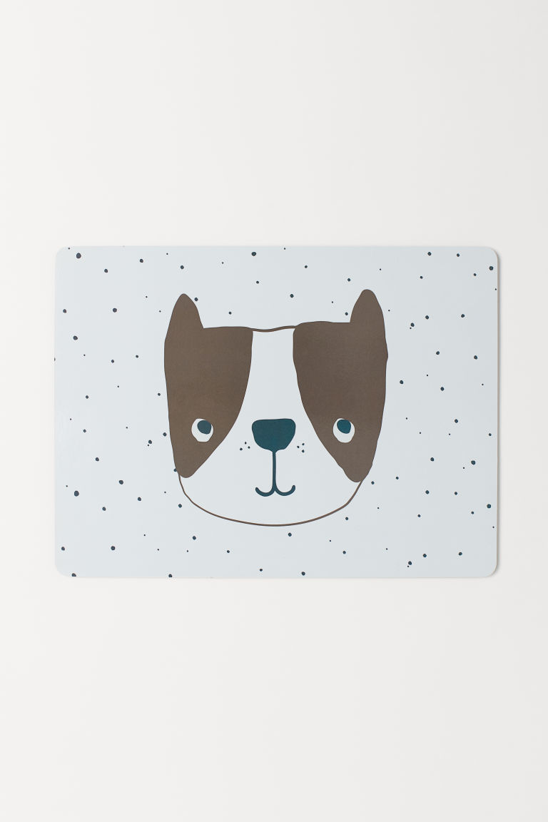Printed table mat - White/Dog - Home All | H&M GB