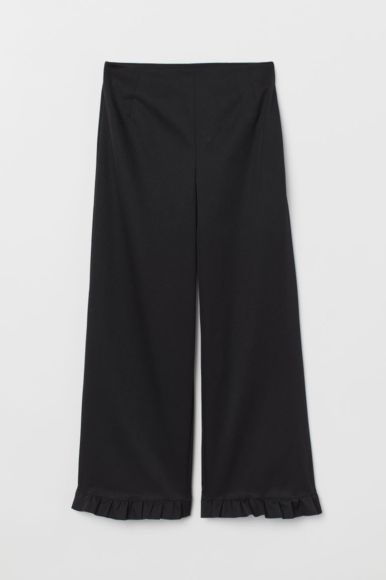 Frilled-trimmed trousers - Black - Ladies | H&M