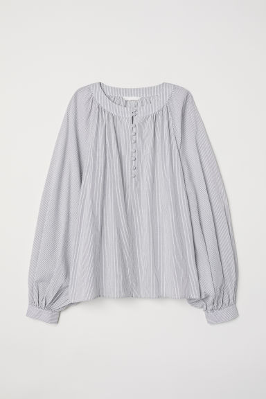 Balloon-sleeved blouse - Natural white/Blue striped - Ladies | H&M CN