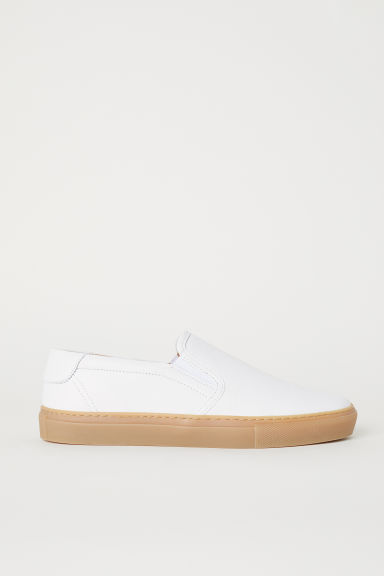 Leather slip-on trainers - White - Men | H&M CN