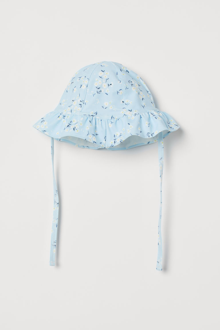 Sun hat with UPF 50 - Light blue/Floral - Kids | H&M GB