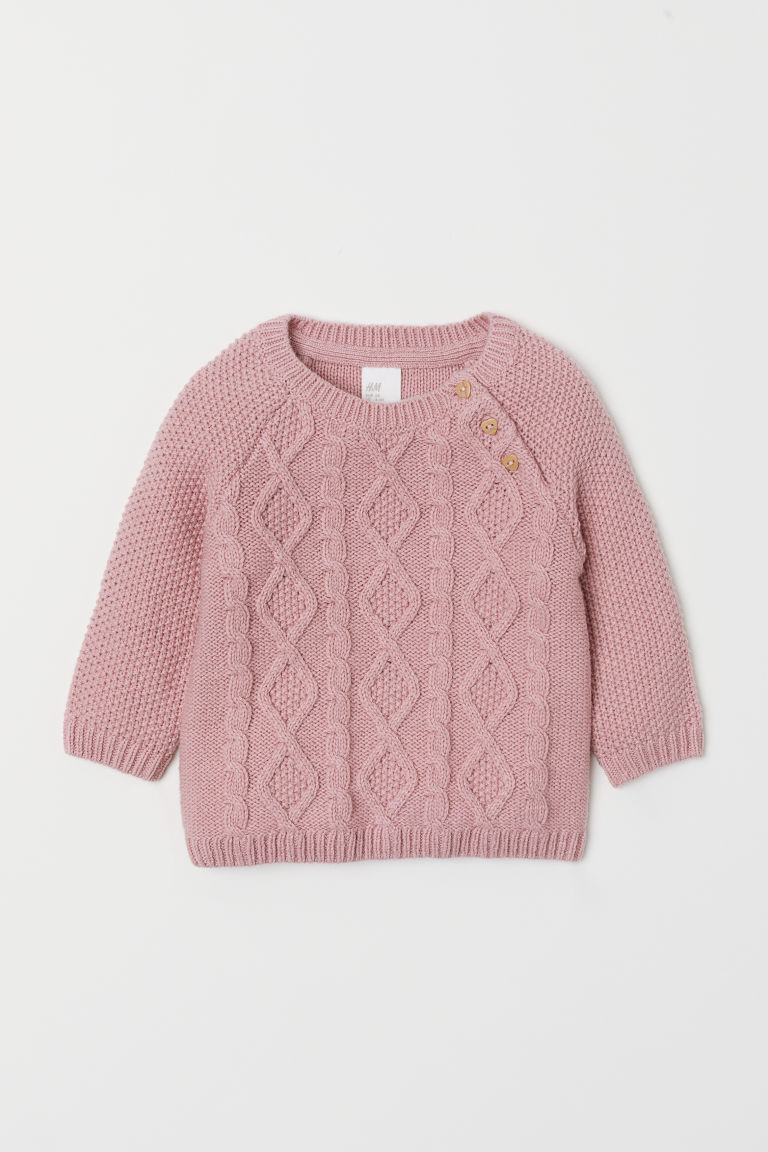 Cable-knit jumper - Light pink -  | H&M