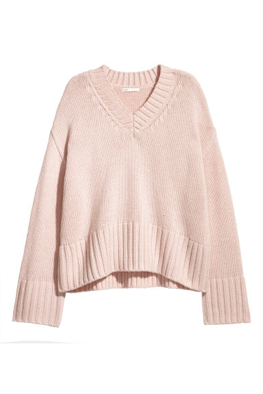 Knitted wool-blend jumper - Powder pink - Ladies | H&M