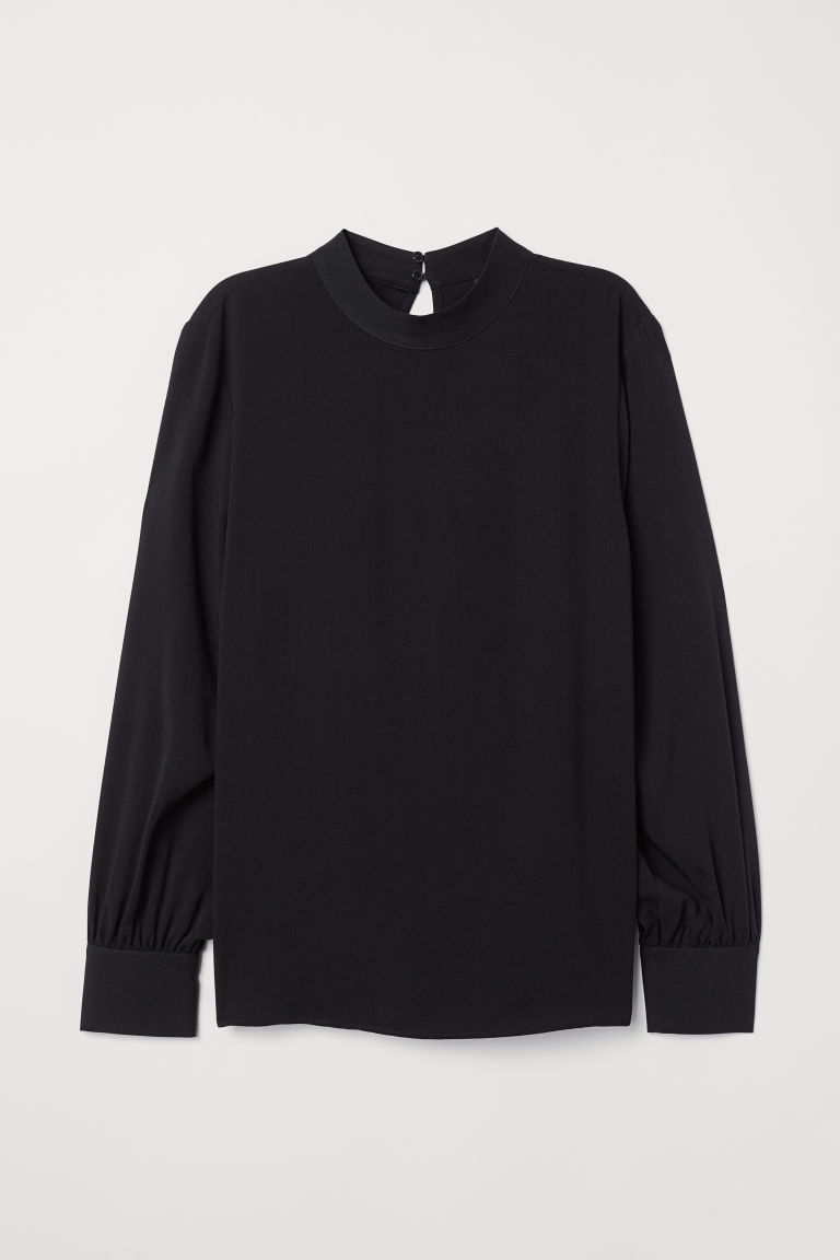 Blouse with a stand-up collar - Black - Ladies | H&M
