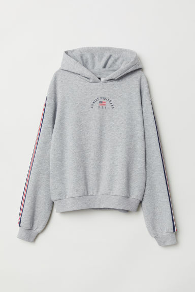 Printed hooded top - Light grey/Sunset Boulevard -  | H&M