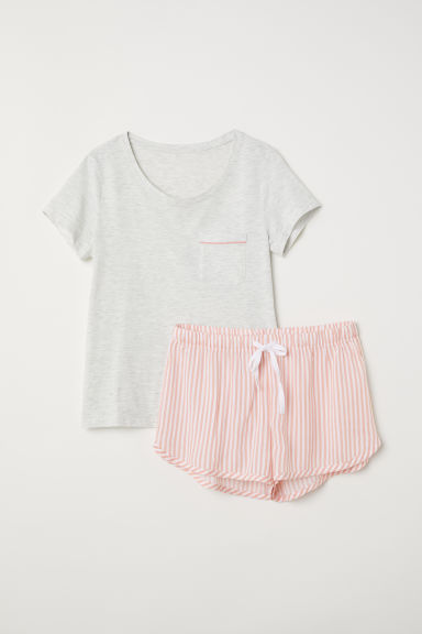 Pyjama top and shorts - Light grey marl/Pink striped - Ladies | H&M CN