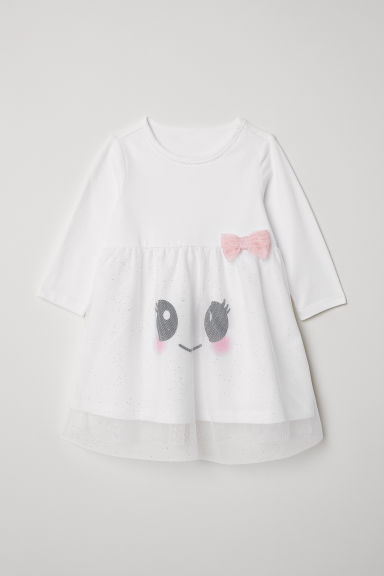 Glittery jersey dress - White/Smiley - Kids | H&M