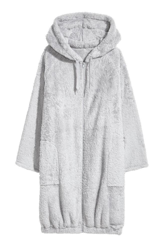 Hooded dressing gown - Light grey - Ladies | H&M CN
