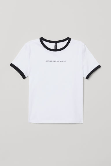 Short jersey top - White/Black -  | H&M