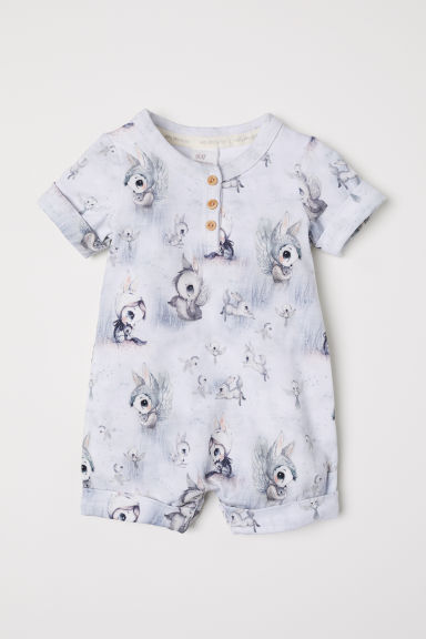 Patterned romper suit - Light grey -  | H&M CN