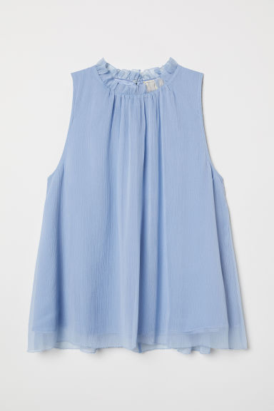 Crinkled top - Light blue - Ladies | H&M