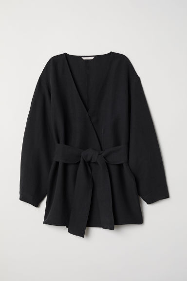 Camicetta incrociata lyocell - Nero - DONNA | H&M IT