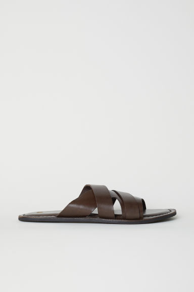 Leather mules - Dark brown -  | H&M