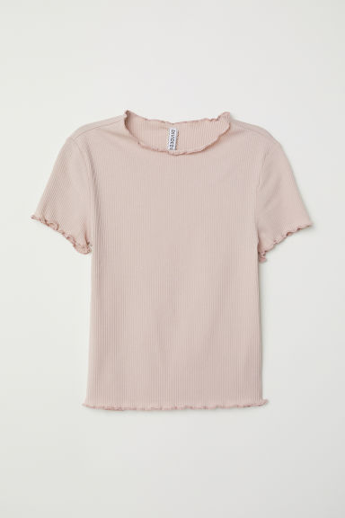 Ribbed jersey top - Powder pink - Ladies | H&M CN