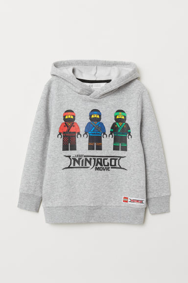 Printed hooded top - Grey marl/Ninjago - Kids | H&M