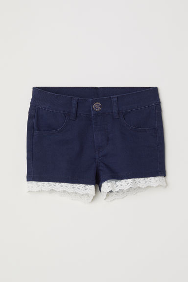Lace-trimmed twill shorts - Dark blue - Kids | H&M
