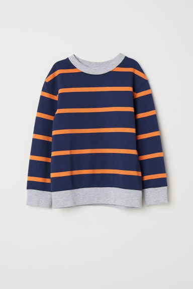 Sweatshirt - Dark blue/Orange striped - Kids | H&M CN