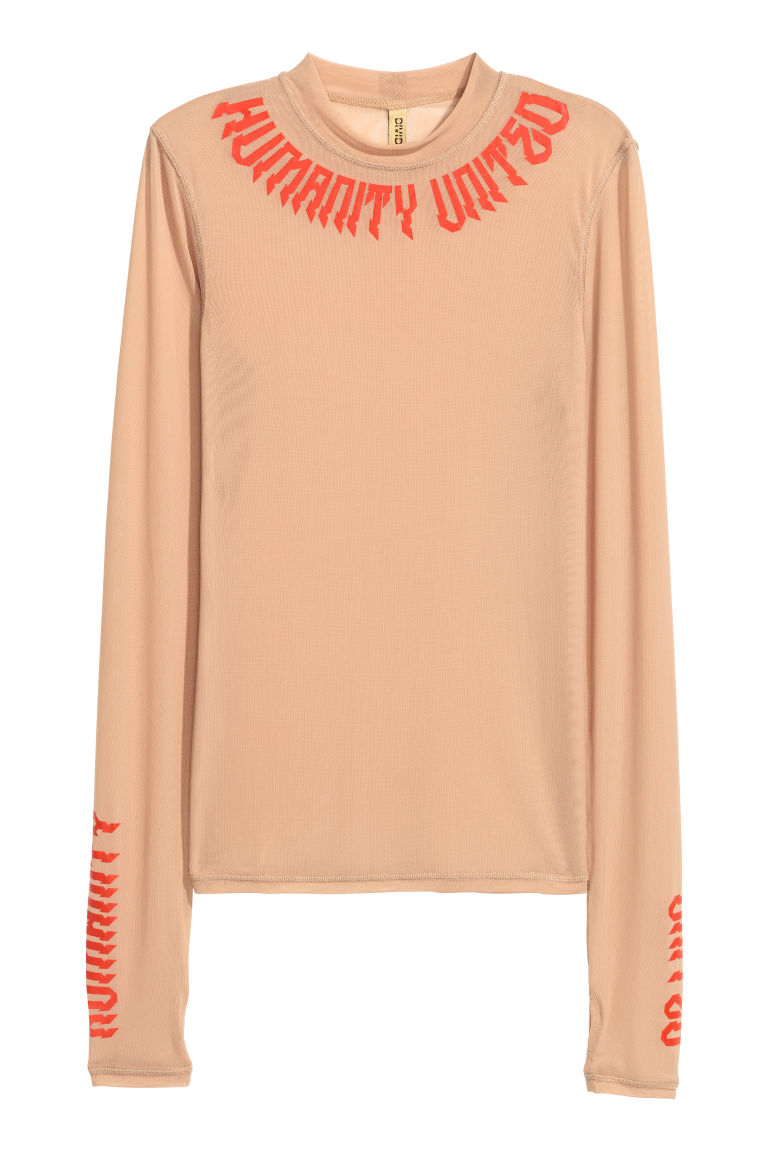 Long-sleeved mesh top - Beige - Ladies | H&M CN