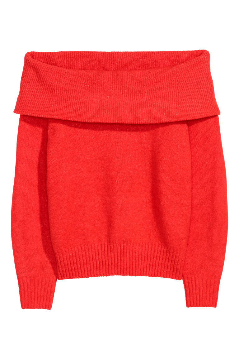 Off-the-shoulder jumper - Red - Ladies | H&M CN