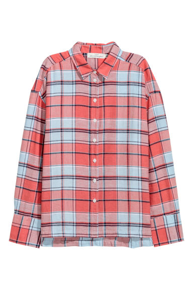 Linen-blend shirt - Coral red/Checked -  | H&M