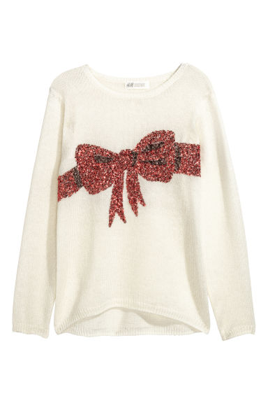 Knitted jumper - Natural white/Bow - Kids | H&M CN