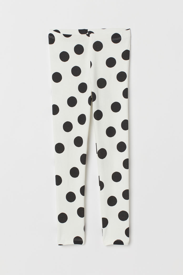 Leggings with Printed Design - White/black dotted - Kids | H&M US