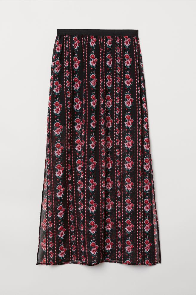 01f1172da1 Falda larga - Negro Estampado -