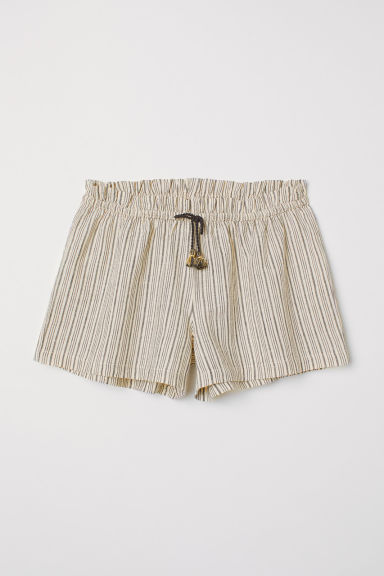 Striped linen-blend shorts - Light beige - Kids | H&M CN