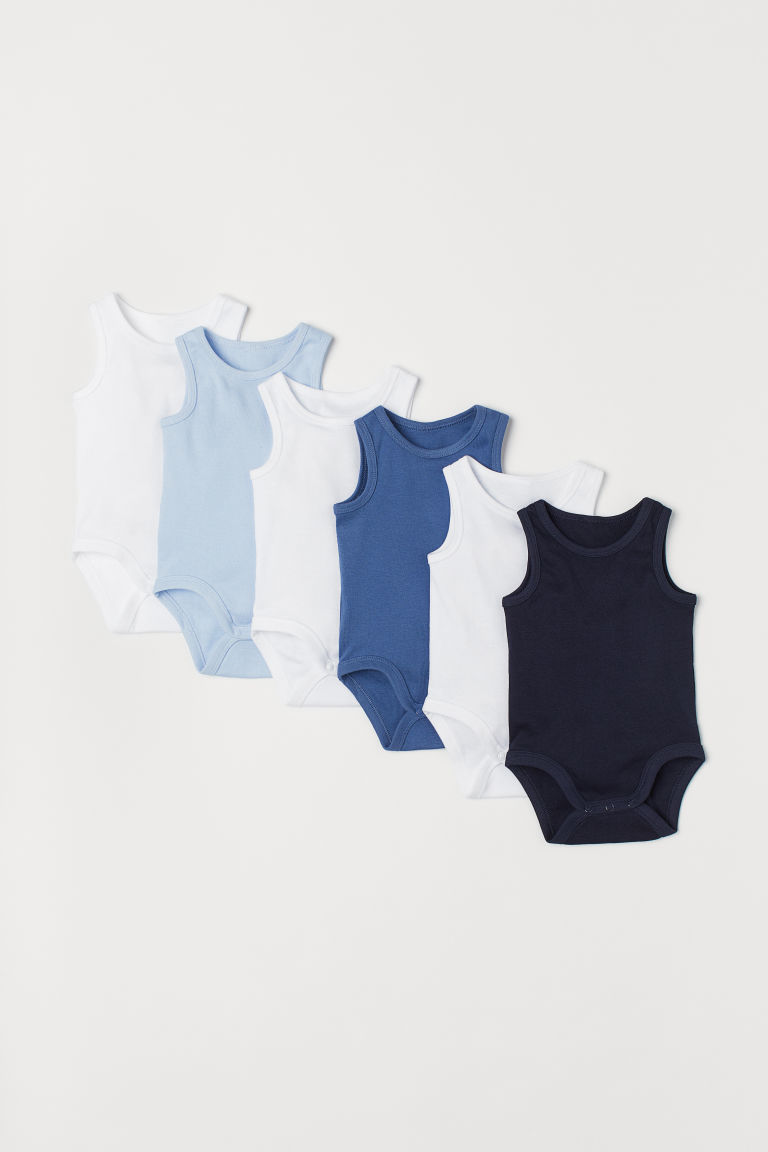 6er-Pack Ärmellose Bodys - Marineblau - Kids | H&M AT