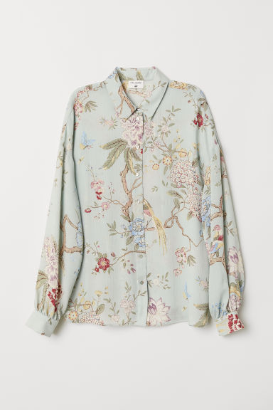 Patterned blouse - Light green/Floral - Ladies | H&M