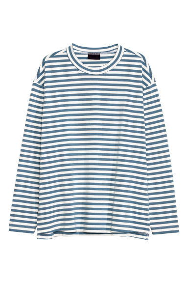 Long-sleeved top - White/Blue striped - Men | H&M