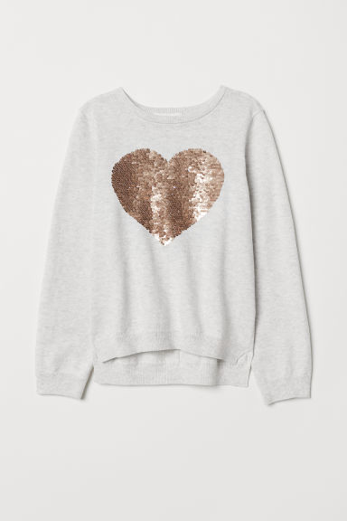 Jumper with a sequined motif - Light grey/Heart -  | H&M CN