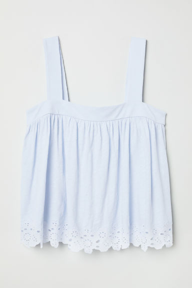 Top with broderie anglaise - Light blue - Ladies | H&M