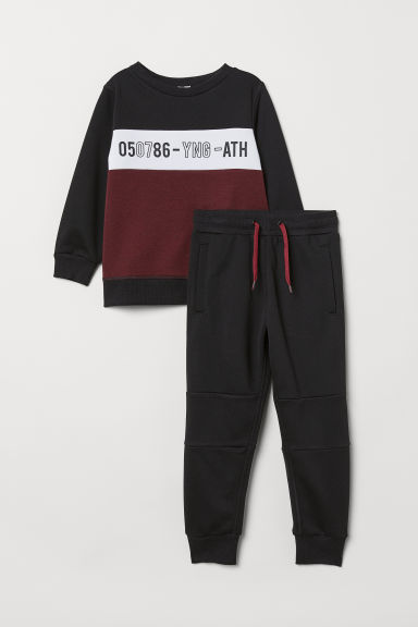 Sports top and trousers - Black/Burgundy - Kids | H&M