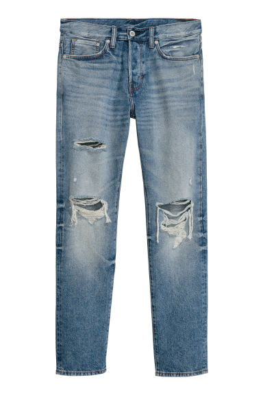 Trashed Straight Jeans - Bleu denim - HOMME | H&M FR