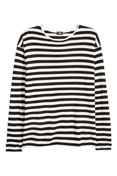 Textured-knit jumper - Black/White striped - Men | H&M